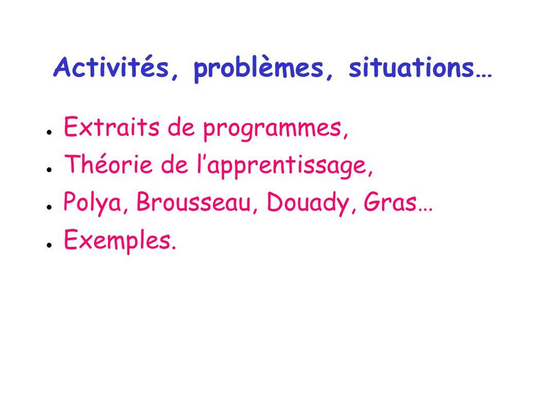 Activités, problèmes, situations… Extraits de programmes, Théorie de lapprentissage, Polya, Brousseau, Douady, Gras… Exemples.