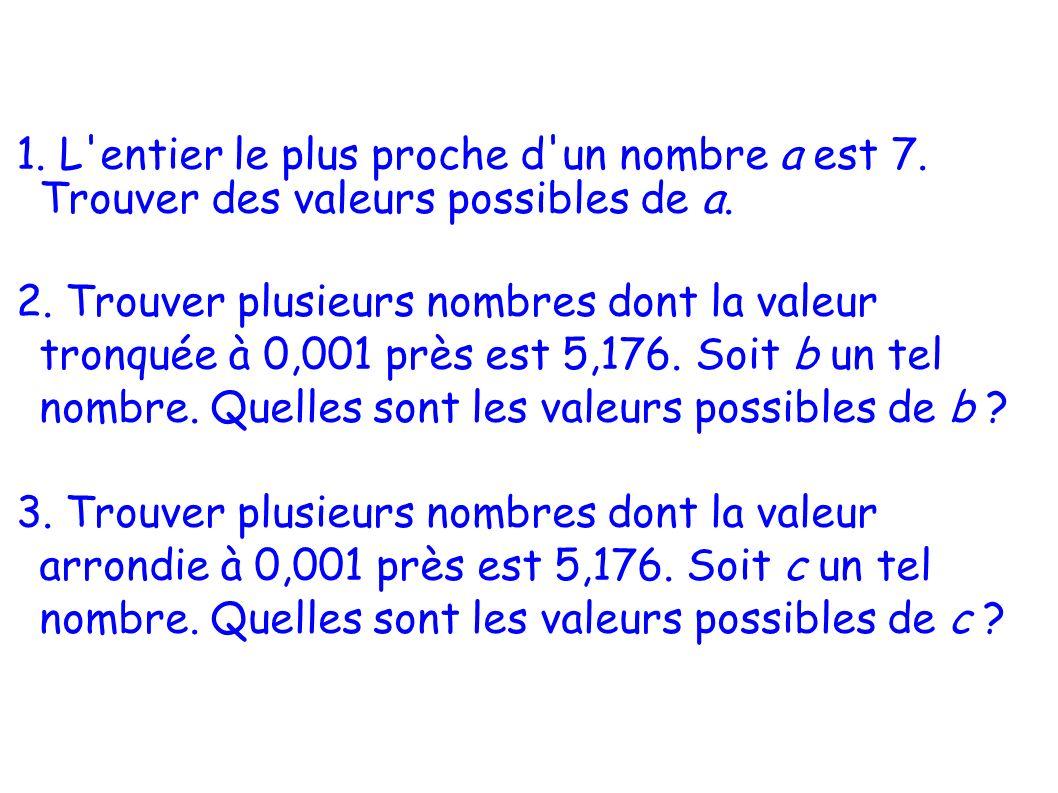 1. L'entier le plus proche d'un nombre a est 7. Trouver des valeurs possibles de a. 2. Trouver plusieurs nombres dont la valeur tronquée à 0,001 près