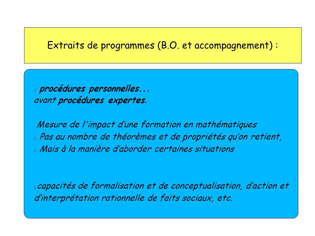 Extraits de programmes (B.O. et accompagnement) : procédures personnelles... avant procédures expertes. Mesure de l'impact dune formation en mathémati