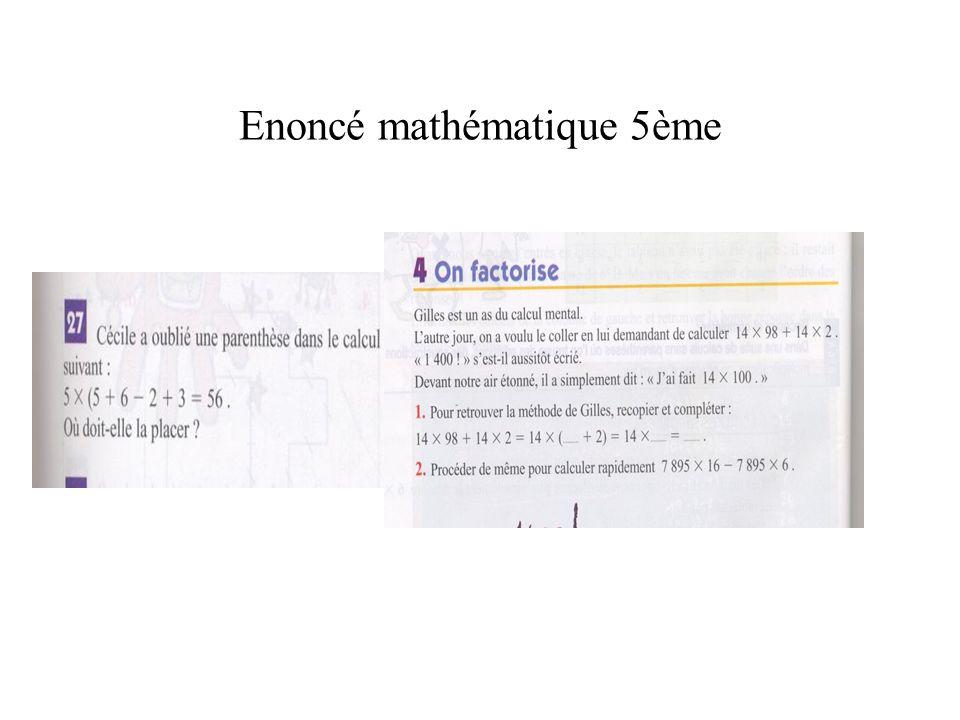 Enoncé mathématique 5ème