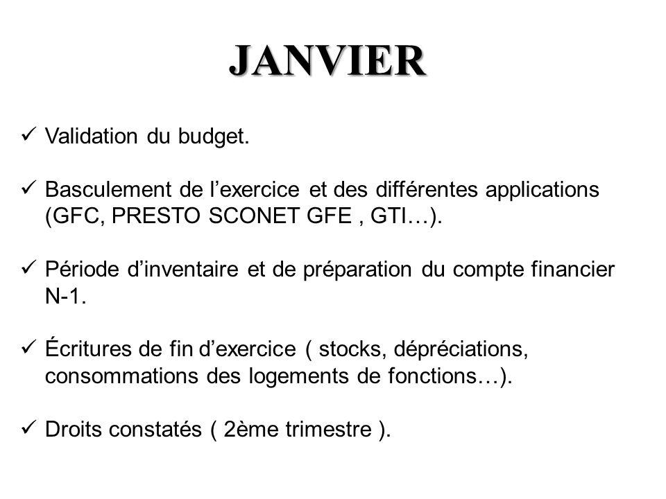 JANVIER Validation du budget. Basculement de lexercice et des différentes applications (GFC, PRESTO SCONET GFE, GTI…). Période dinventaire et de prépa