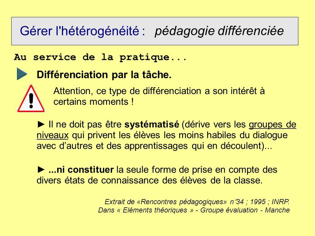 Gérer l'hétérogénéité : pédagogie différenciée Au service de la pratique... Différenciation par la tâche. Attention, ce type de différenciation a son