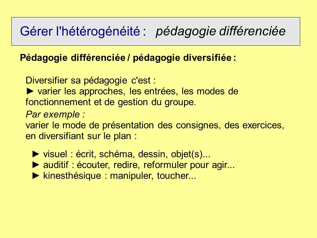 Gérer l'hétérogénéité : pédagogie différenciée Pédagogie différenciée / pédagogie diversifiée : Diversifier sa pédagogie c'est : varier les approches,