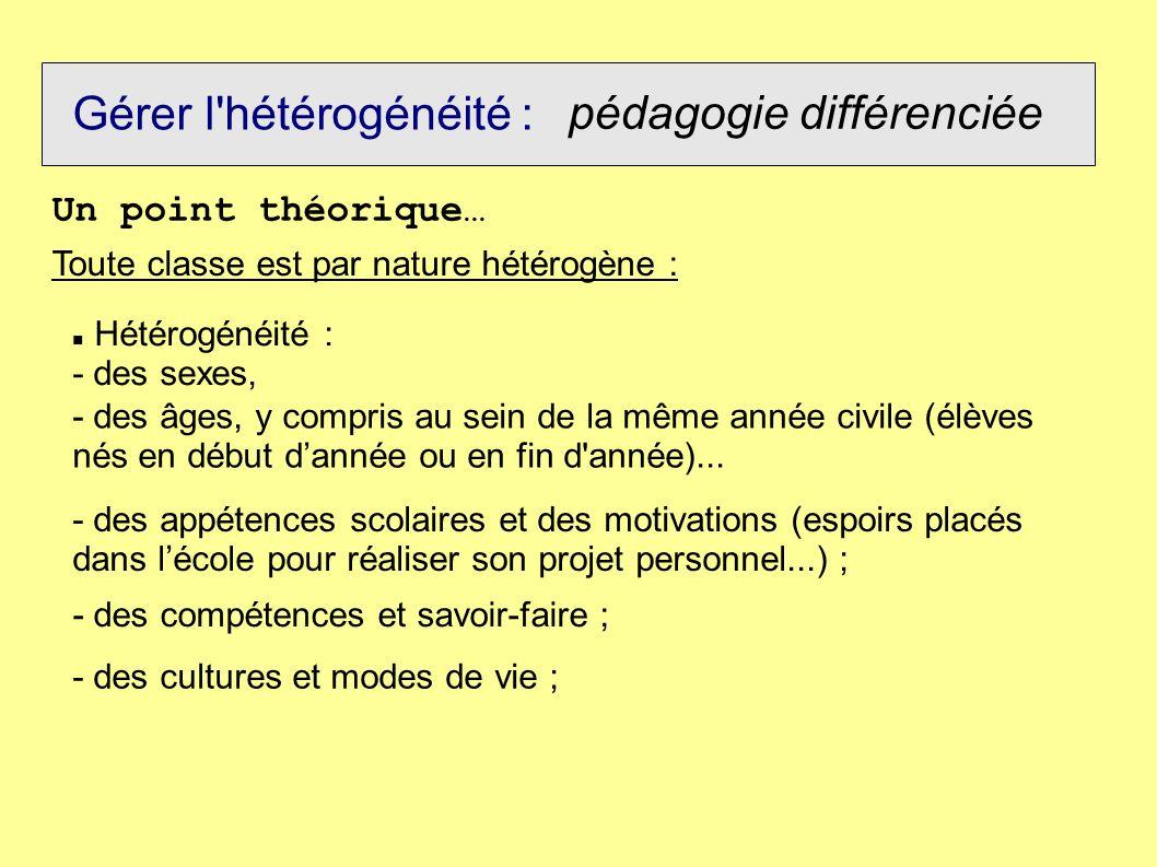 Gérer l'hétérogénéité : pédagogie différenciée Un point théorique… Toute classe est par nature hétérogène : Hétérogénéité : - des sexes, - des âges, y