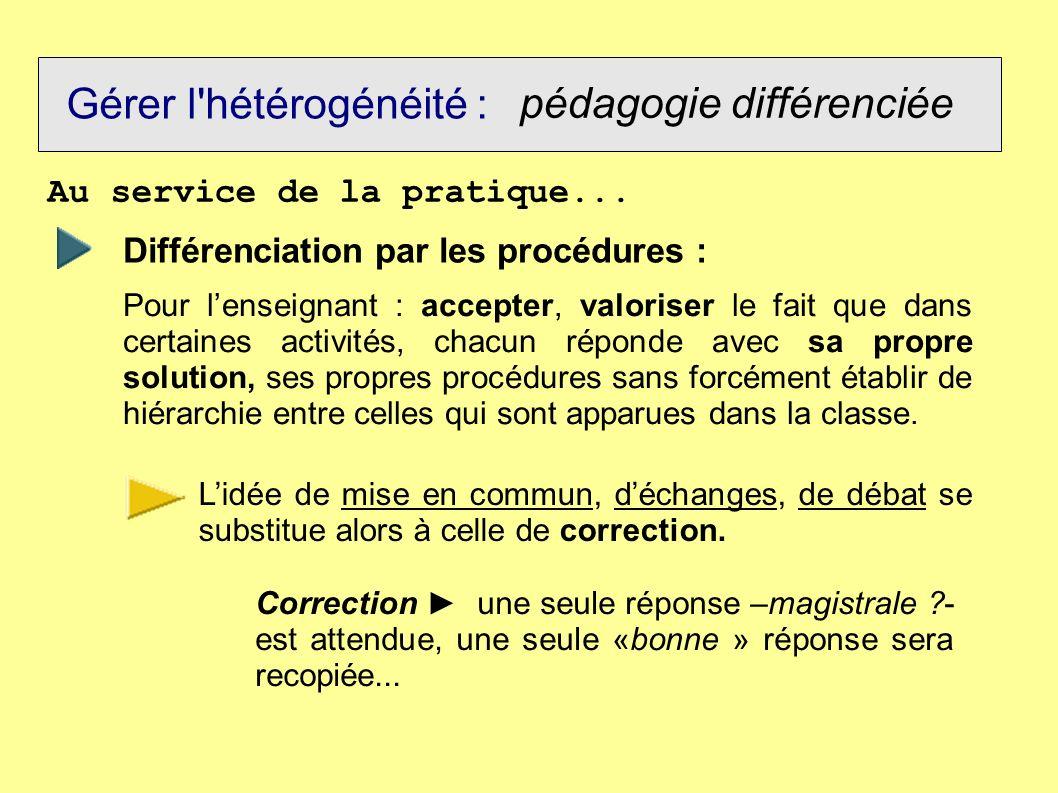 Gérer l'hétérogénéité : pédagogie différenciée Au service de la pratique... Différenciation par les procédures : Pour lenseignant : accepter, valorise