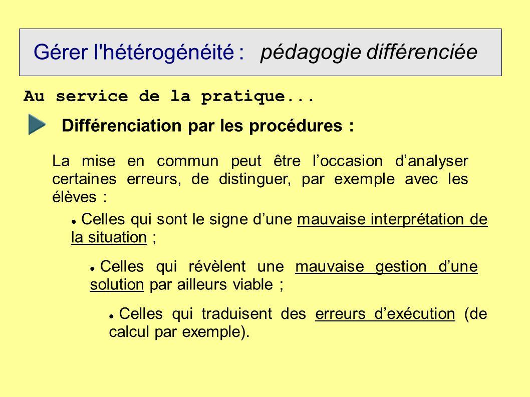 Gérer l'hétérogénéité : pédagogie différenciée Au service de la pratique... Différenciation par les procédures : La mise en commun peut être loccasion
