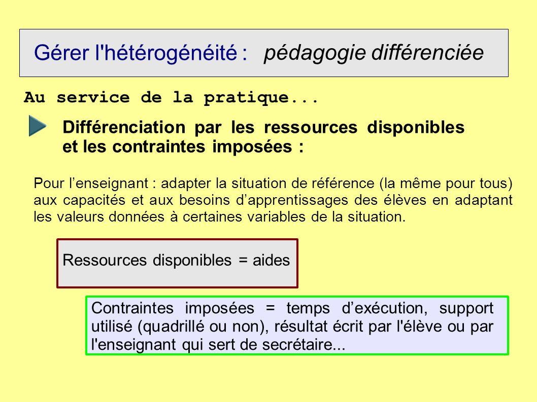 Gérer l'hétérogénéité : pédagogie différenciée Au service de la pratique... Différenciation par les ressources disponibles et les contraintes imposées