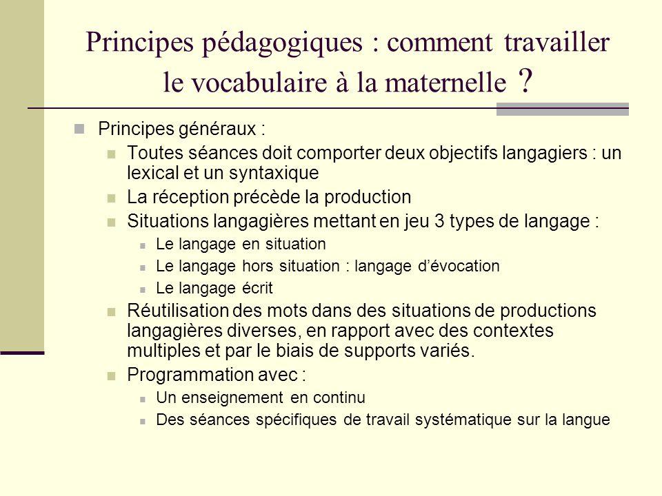 Principes pédagogiques : comment travailler le vocabulaire à la maternelle ? Principes généraux : Toutes séances doit comporter deux objectifs langagi