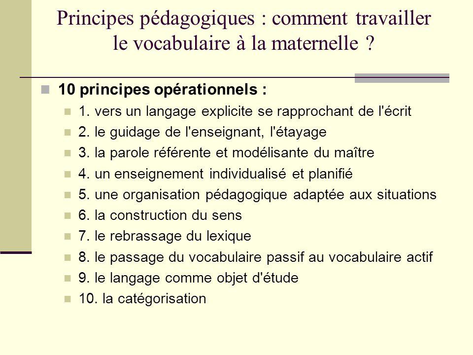 Principes pédagogiques : comment travailler le vocabulaire à la maternelle ? 10 principes opérationnels : 1. vers un langage explicite se rapprochant