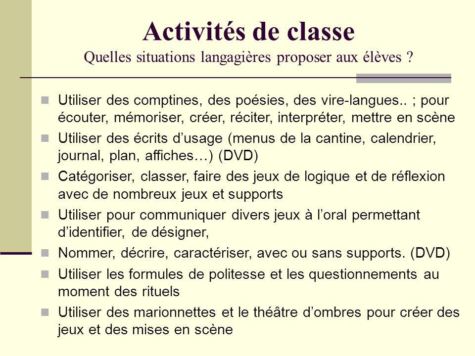 Activités de classe Quelles situations langagières proposer aux élèves ? Utiliser des comptines, des poésies, des vire-langues.. ; pour écouter, mémor