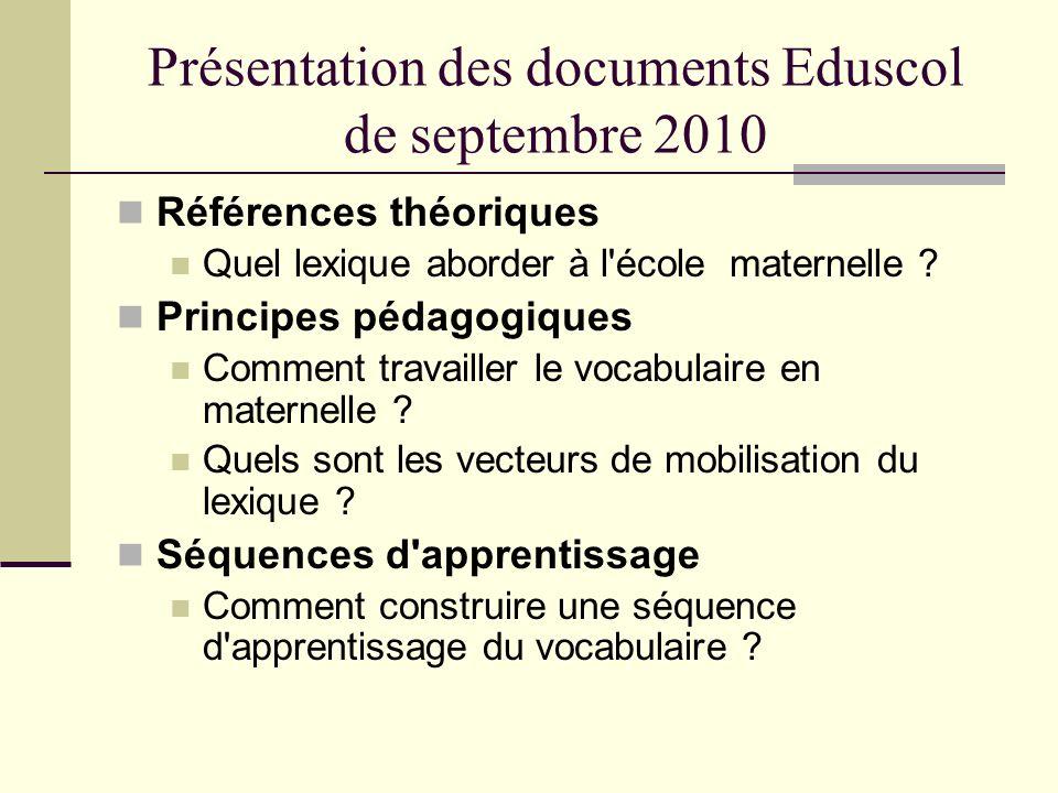 Présentation des documents Eduscol de septembre 2010 Références théoriques Quel lexique aborder à l'école maternelle ? Principes pédagogiques Comment