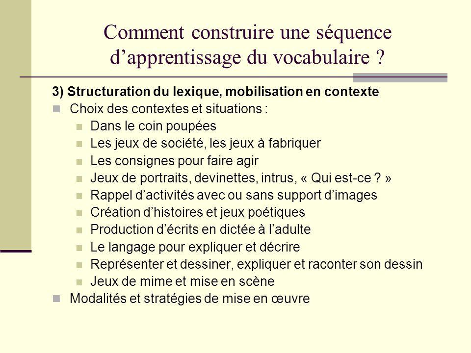 Comment construire une séquence dapprentissage du vocabulaire ? 3) Structuration du lexique, mobilisation en contexte Choix des contextes et situation