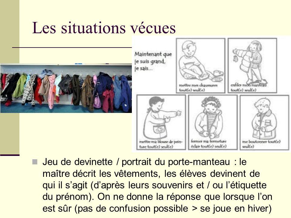 Les situations vécues Jeu de devinette / portrait du porte-manteau : le maître décrit les vêtements, les élèves devinent de qui il sagit (daprès leurs