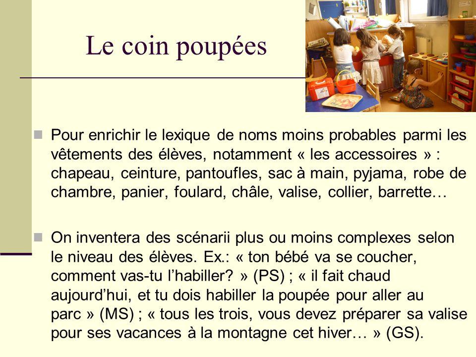Le coin poupées Pour enrichir le lexique de noms moins probables parmi les vêtements des élèves, notamment « les accessoires » : chapeau, ceinture, pa