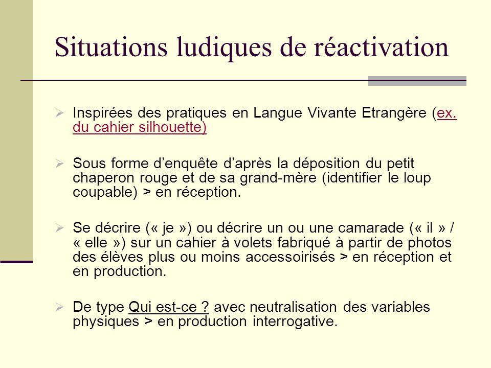 Situations ludiques de réactivation Inspirées des pratiques en Langue Vivante Etrangère (ex. du cahier silhouette)ex. du cahier silhouette) Sous forme