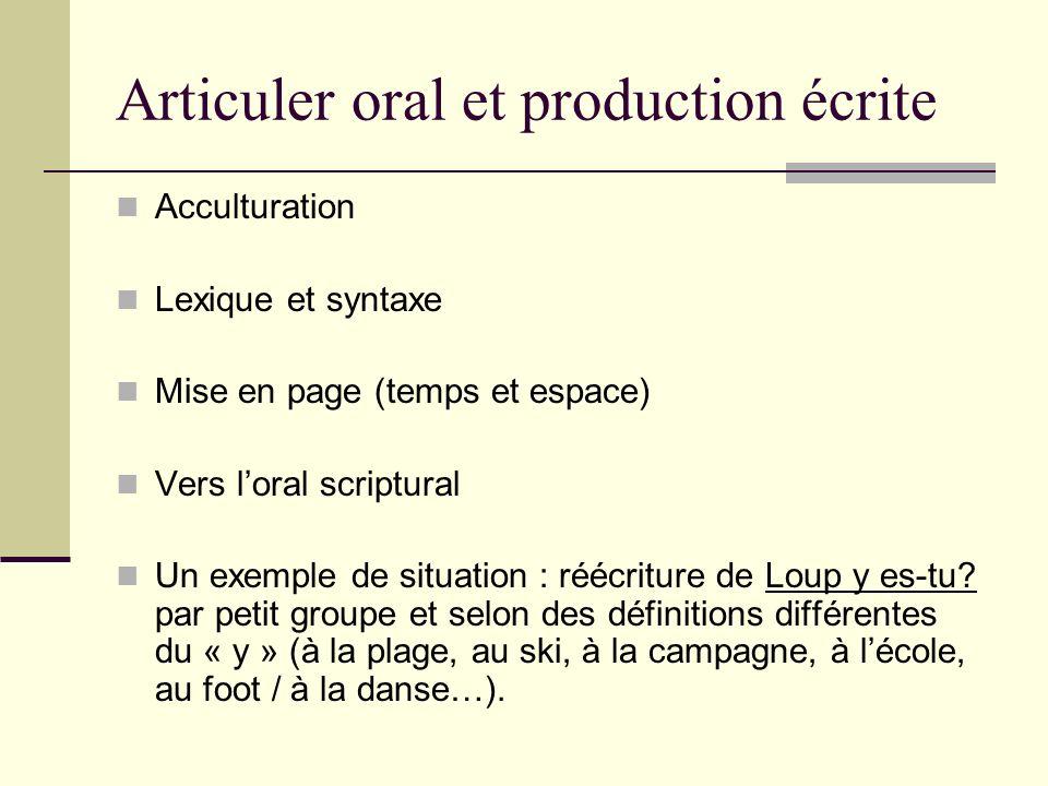 Articuler oral et production écrite Acculturation Lexique et syntaxe Mise en page (temps et espace) Vers loral scriptural Un exemple de situation : ré