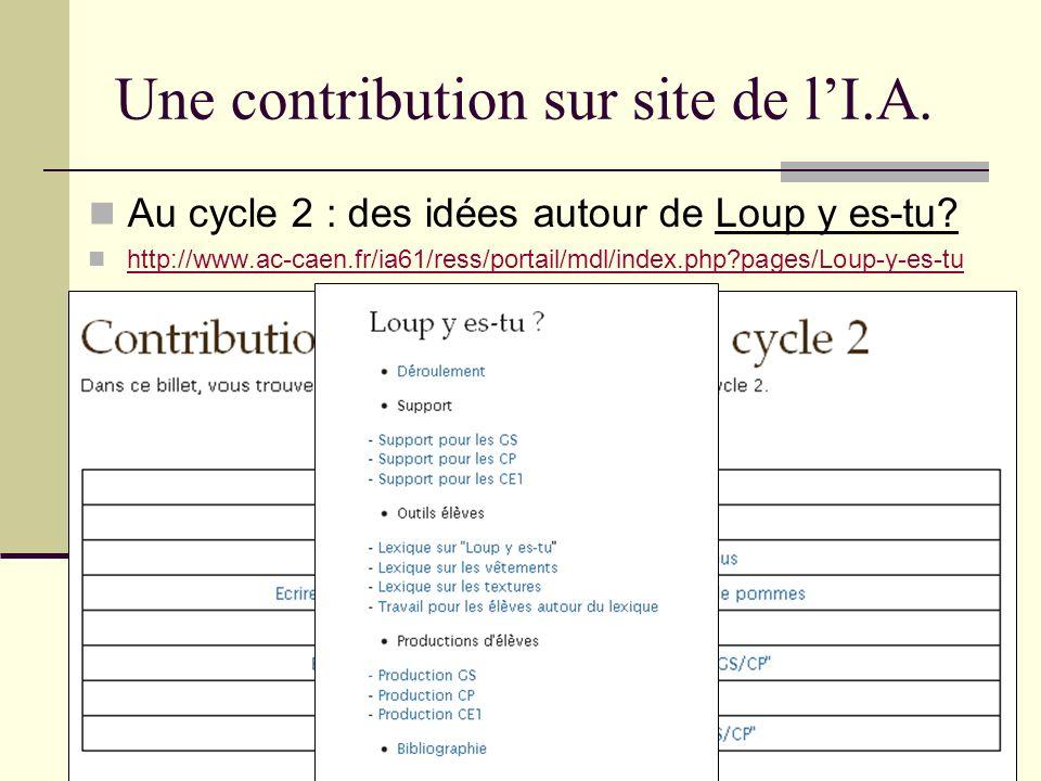 Une contribution sur site de lI.A. Au cycle 2 : des idées autour de Loup y es-tu? http://www.ac-caen.fr/ia61/ress/portail/mdl/index.php?pages/Loup-y-e