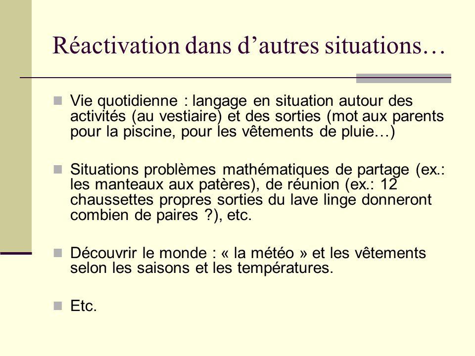 Réactivation dans dautres situations… Vie quotidienne : langage en situation autour des activités (au vestiaire) et des sorties (mot aux parents pour