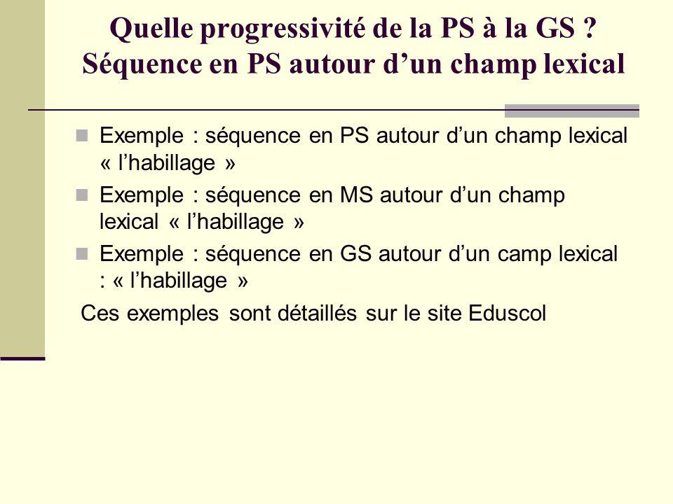 Quelle progressivité de la PS à la GS ? Séquence en PS autour dun champ lexical Exemple : séquence en PS autour dun champ lexical « lhabillage » Exemp