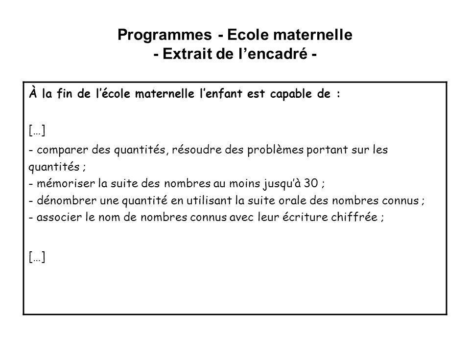 Programmes - Ecole maternelle - Extrait de lencadré - À la fin de lécole maternelle lenfant est capable de : […] - comparer des quantités, résoudre de