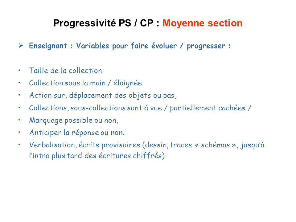 Progressivité PS / CP : Moyenne section Enseignant : Variables pour faire évoluer / progresser : Taille de la collection Collection sous la main / élo