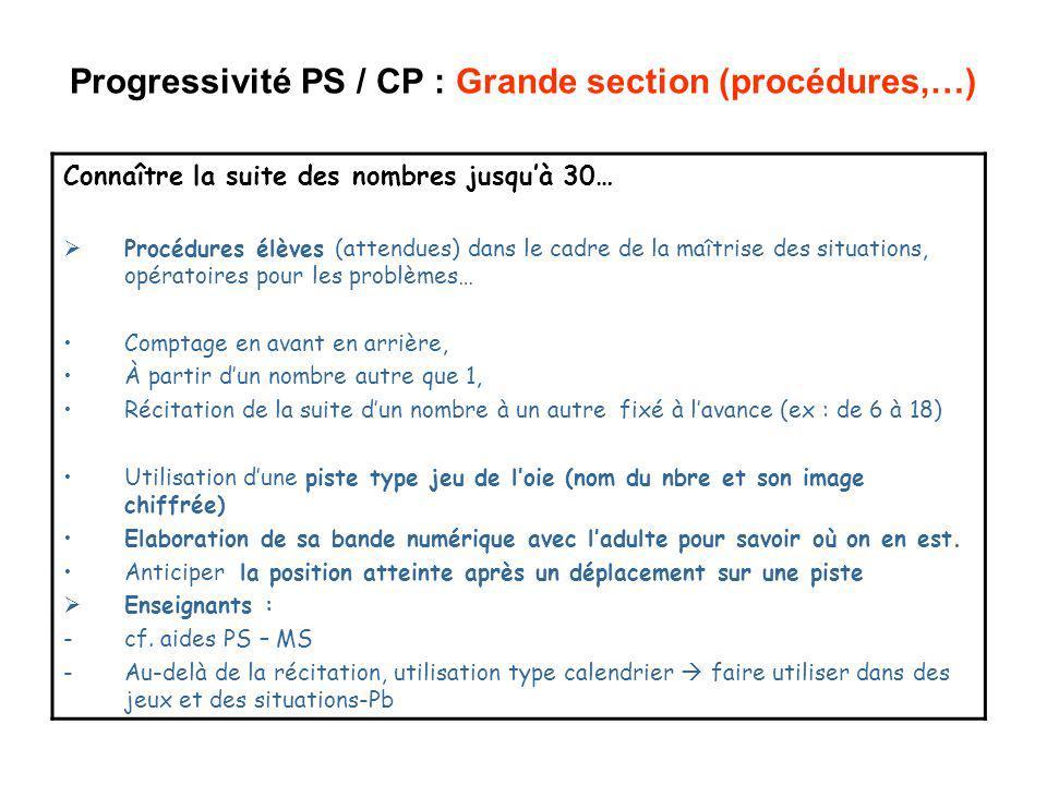 Progressivité PS / CP : Grande section (procédures,…) Connaître la suite des nombres jusquà 30… Procédures élèves (attendues) dans le cadre de la maît