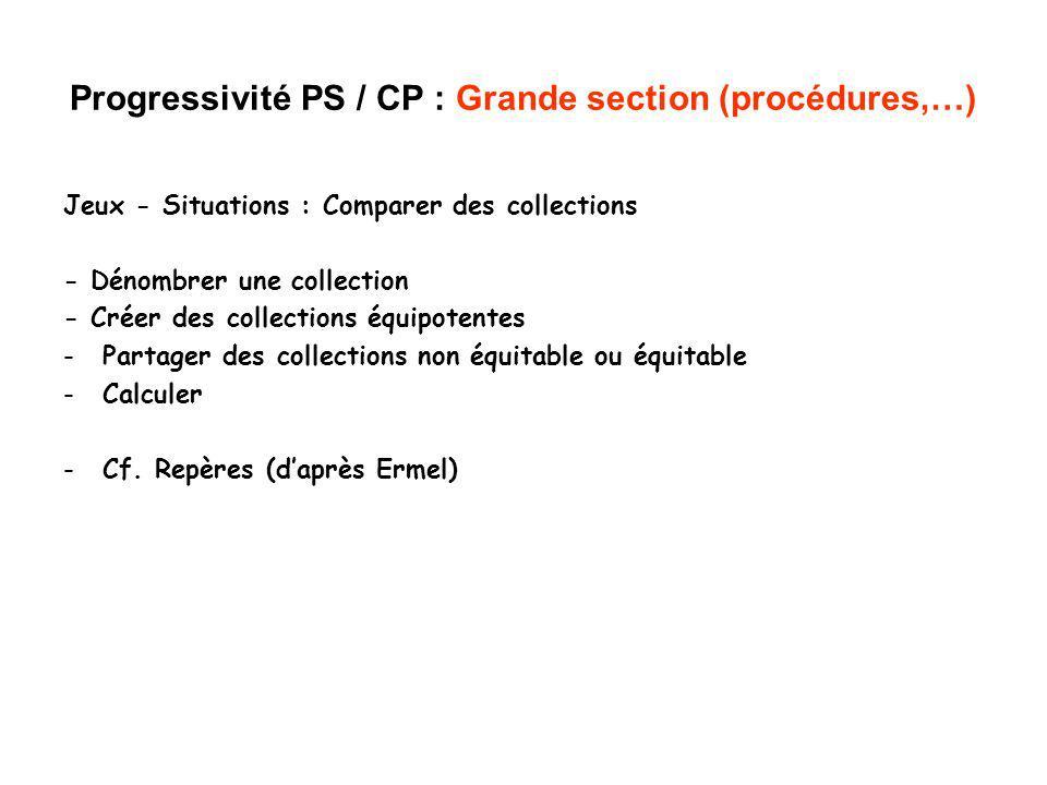 Progressivité PS / CP : Grande section (procédures,…) Jeux - Situations : Comparer des collections - Dénombrer une collection - Créer des collections