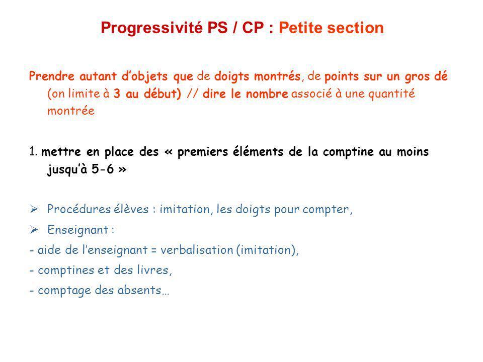 Progressivité PS / CP : Petite section Prendre autant dobjets que de doigts montrés, de points sur un gros dé (on limite à 3 au début) // dire le nomb