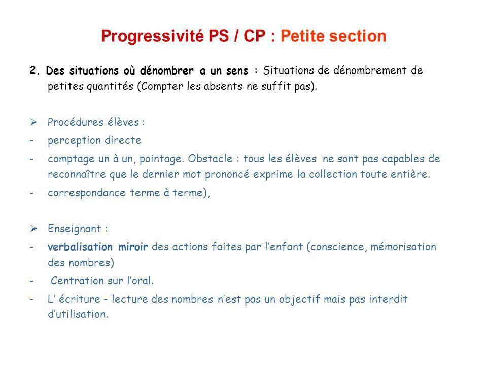 Progressivité PS / CP : Moyenne section MS (4-5 ans) - Nouvelle étape : la comparaison de deux collections (éloignées ou non) ou constitution dune collection qui a autant dobjets quune collection (éloignée) 1.Comptine au moins jq à 12 ou 15 pour la plupart des enfants.