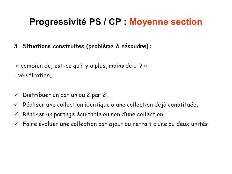 Progressivité PS / CP : Moyenne section 3. Situations construites (problème à résoudre) : « combien de, est-ce quil y a plus, moins de … ? » - vérific