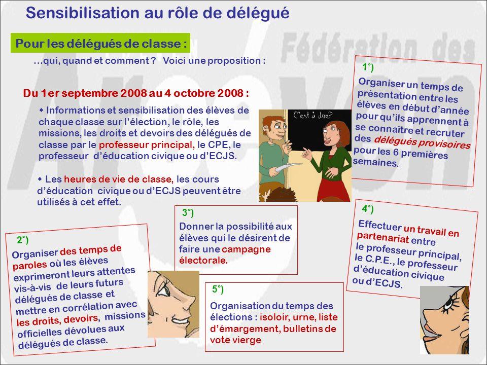 Sensibilisation au rôle de délégué Du 1er septembre 2008 au 4 octobre 2008 : Les heures de vie de classe, les cours déducation civique ou dECJS peuvent être utilisés à cet effet.