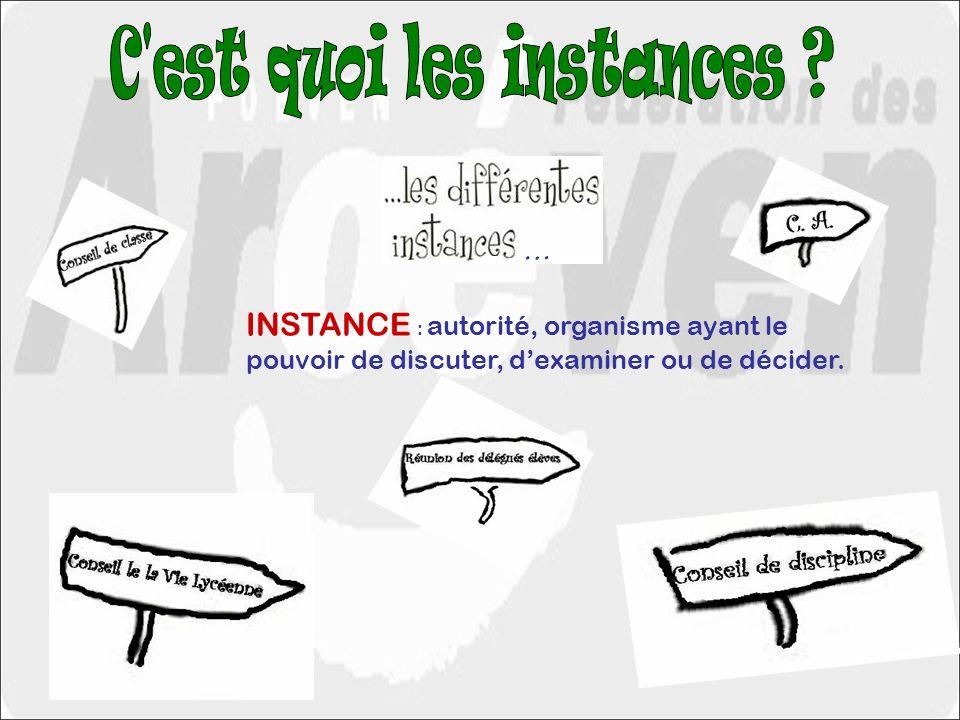 INSTANCE : autorité, organisme ayant le pouvoir de discuter, dexaminer ou de décider. …