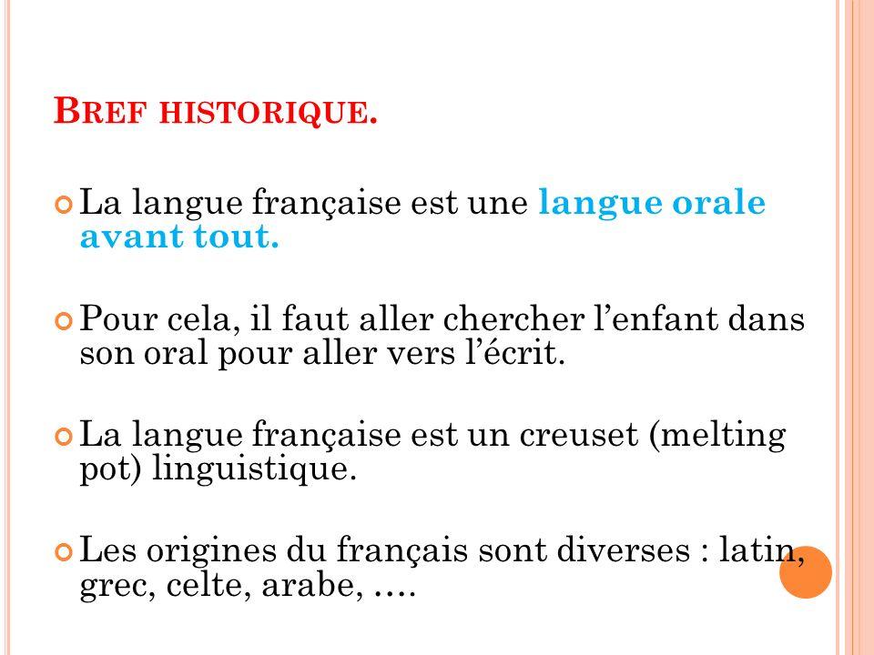 B REF HISTORIQUE. La langue française est une langue orale avant tout. Pour cela, il faut aller chercher lenfant dans son oral pour aller vers lécrit.