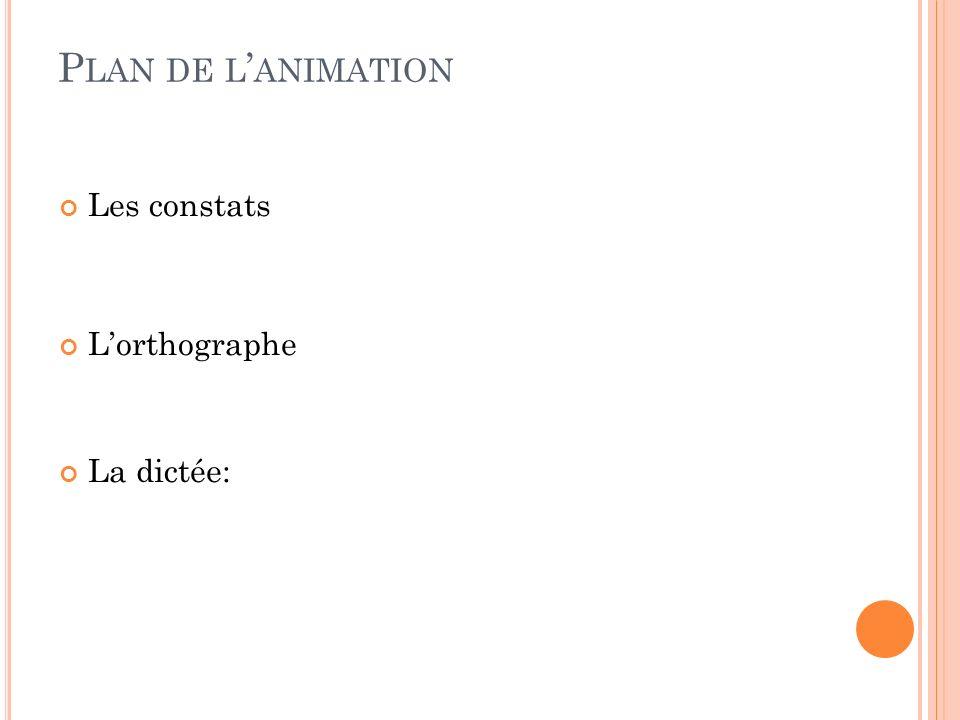 P LAN DE L ANIMATION Les constats Lorthographe La dictée: