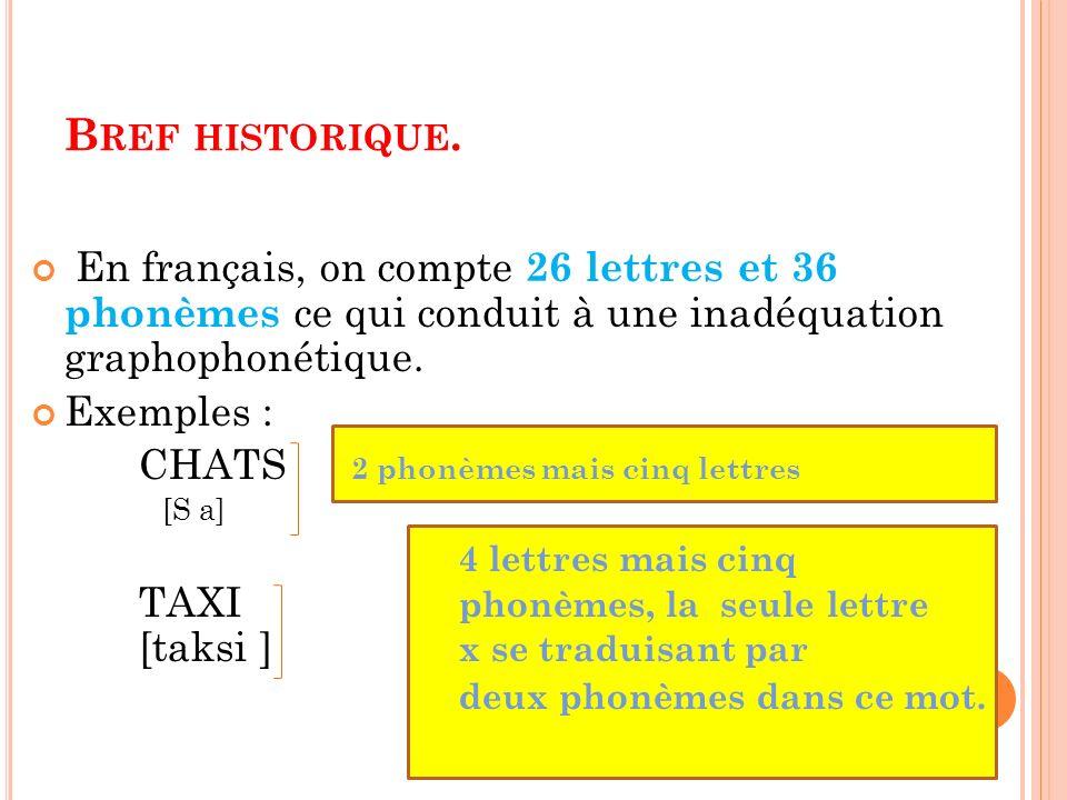 En français, on compte 26 lettres et 36 phonèmes ce qui conduit à une inadéquation graphophonétique. Exemples : CHATS 2 phonèmes mais cinq lettres [S