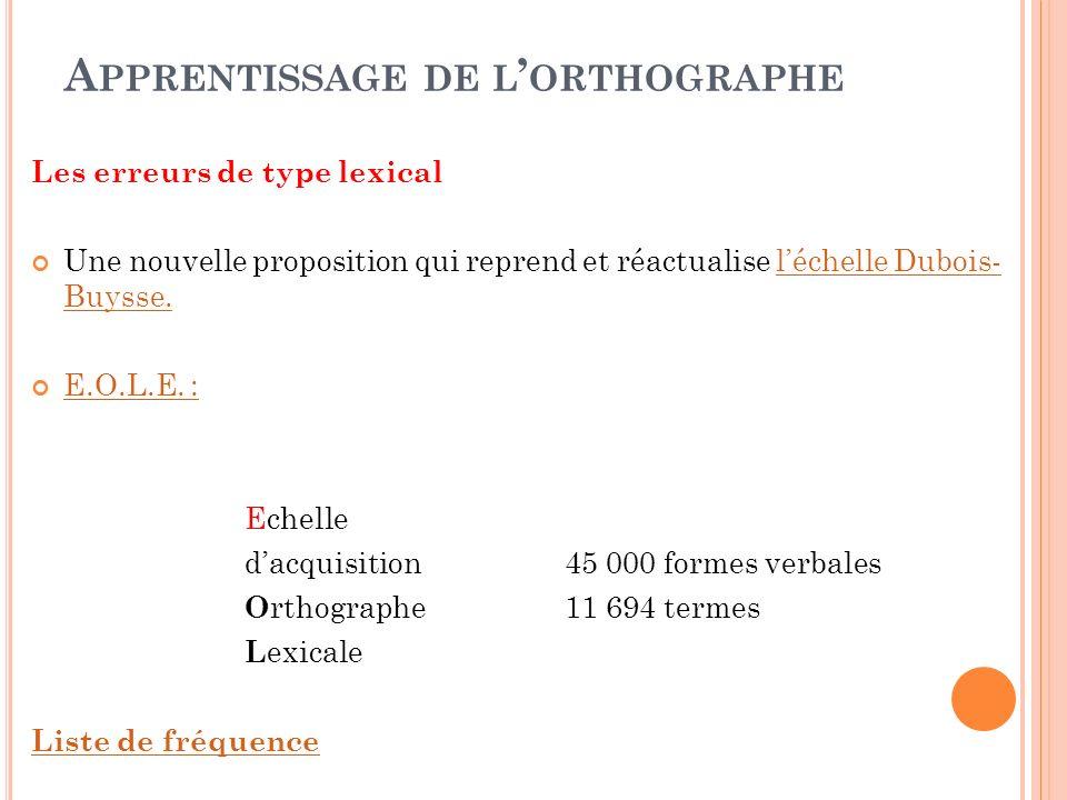 A PPRENTISSAGE DE L ORTHOGRAPHE Les erreurs de type lexical Une nouvelle proposition qui reprend et réactualise léchelle Dubois- Buysse.léchelle Duboi
