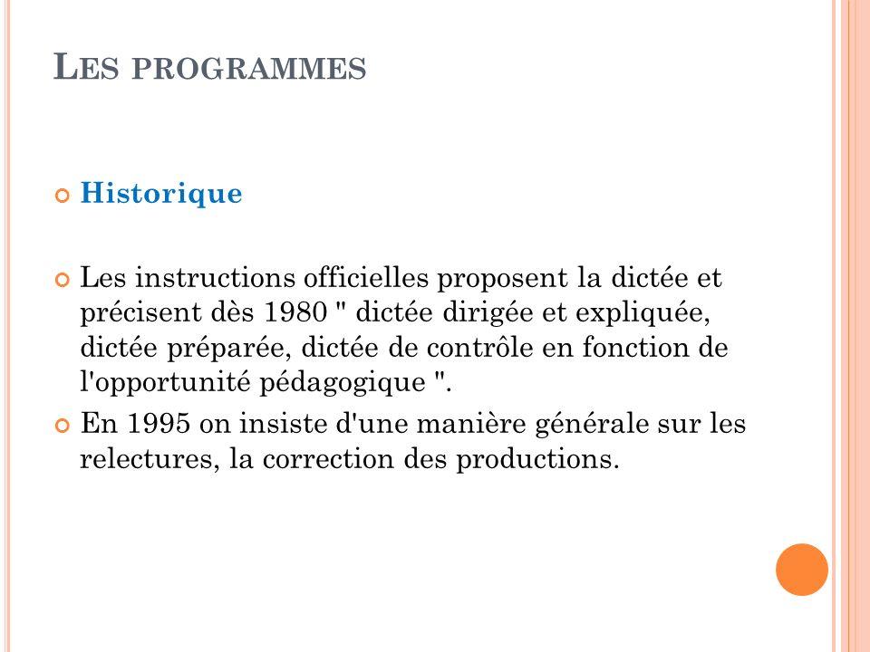 Historique Les instructions officielles proposent la dictée et précisent dès 1980