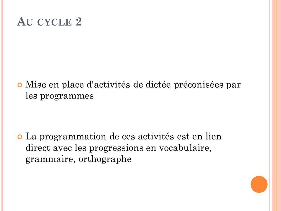 A U CYCLE 2 Mise en place d'activités de dictée préconisées par les programmes La programmation de ces activités est en lien direct avec les progressi