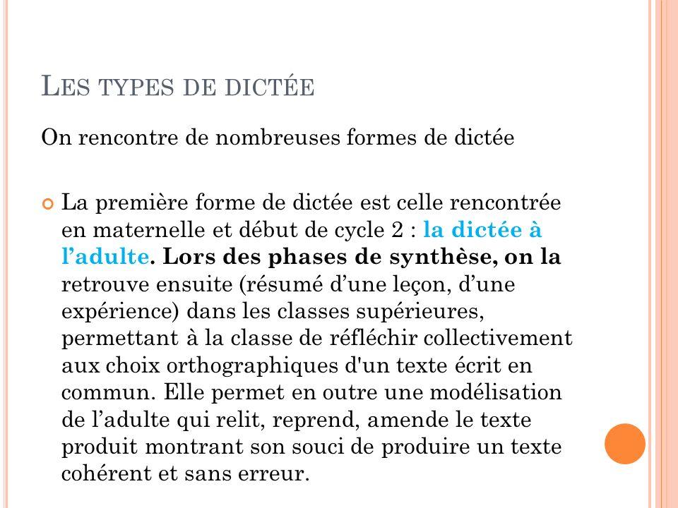 On rencontre de nombreuses formes de dictée La première forme de dictée est celle rencontrée en maternelle et début de cycle 2 : la dictée à ladulte.