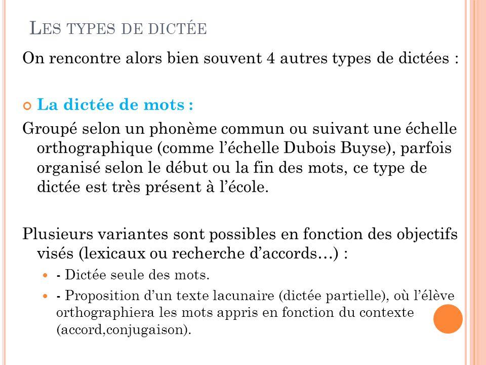 L ES TYPES DE DICTÉE On rencontre alors bien souvent 4 autres types de dictées : La dictée de mots : Groupé selon un phonème commun ou suivant une éch