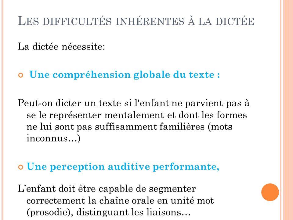 La dictée nécessite: Une compréhension globale du texte : Peut-on dicter un texte si l'enfant ne parvient pas à se le représenter mentalement et dont