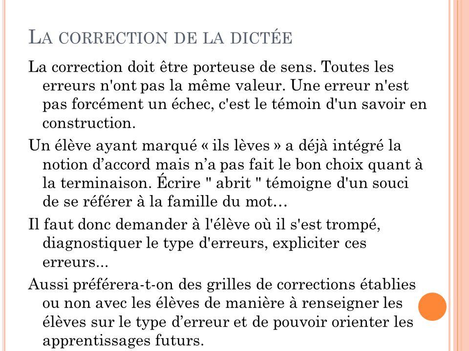 L A CORRECTION DE LA DICTÉE La correction doit être porteuse de sens. Toutes les erreurs n'ont pas la même valeur. Une erreur n'est pas forcément un é