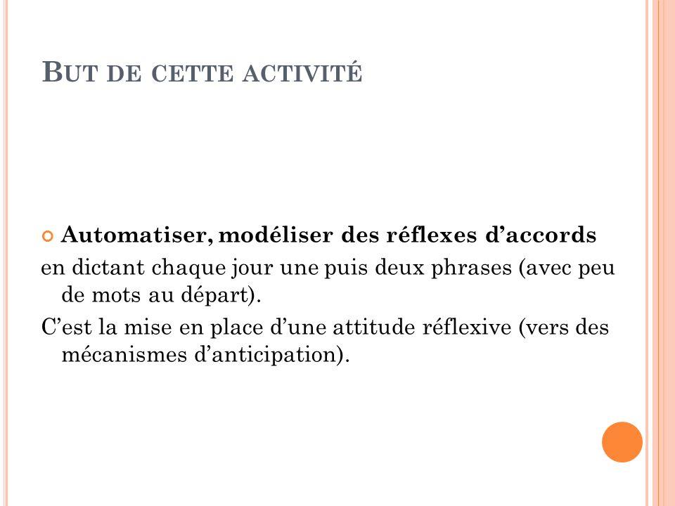 B UT DE CETTE ACTIVITÉ Automatiser, modéliser des réflexes daccords en dictant chaque jour une puis deux phrases (avec peu de mots au départ). Cest la