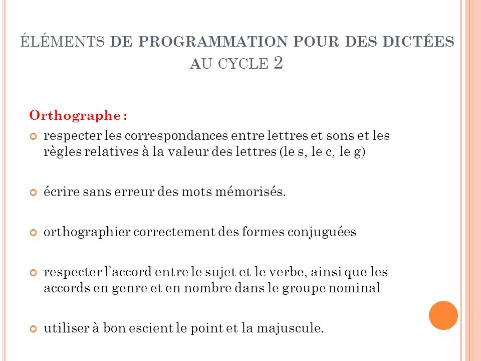 ÉLÉMENTS DE PROGRAMMATION POUR DES DICTÉES A U CYCLE 2 Orthographe : respecter les correspondances entre lettres et sons et les règles relatives à la