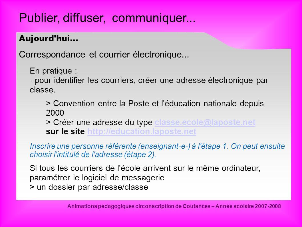 Publier, diffuser, communiquer... Animations pédagogiques circonscription de Coutances – Année scolaire 2007-2008 Correspondance et courrier électroni