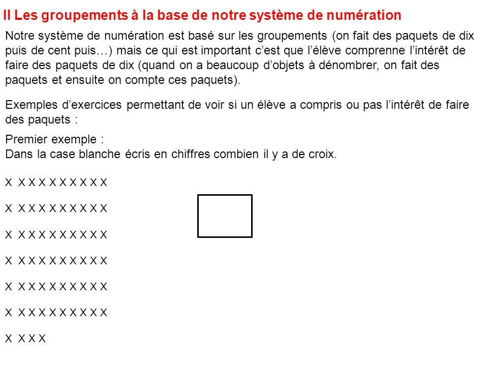 Notre système de numération est basé sur les groupements (on fait des paquets de dix puis de cent puis…) mais ce qui est important cest que lélève com