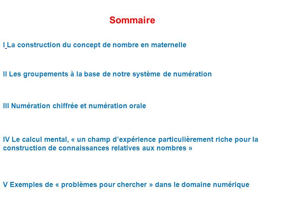 Sommaire I La construction du concept de nombre en maternelle II Les groupements à la base de notre système de numération III Numération chiffrée et n
