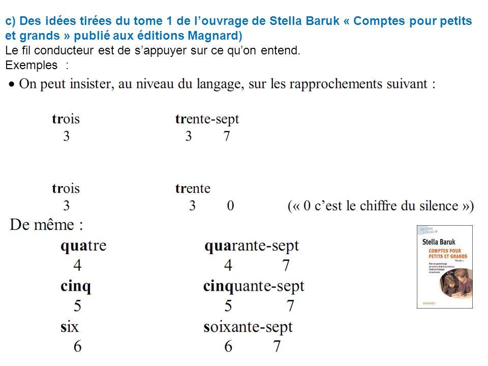 c) Des idées tirées du tome 1 de louvrage de Stella Baruk « Comptes pour petits et grands » publié aux éditions Magnard) Le fil conducteur est de sappuyer sur ce quon entend.
