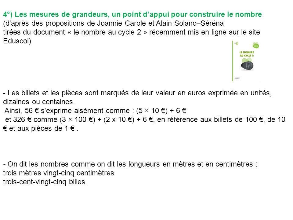 4°) Les mesures de grandeurs, un point dappui pour construire le nombre (daprès des propositions de Joannie Carole et Alain Solano–Séréna tirées du do