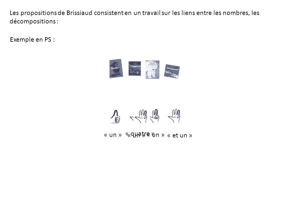 Exemple en PS : « un » « et un » « quatre » Les propositions de Brissiaud consistent en un travail sur les liens entre les nombres, les décompositions :